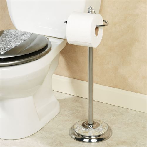 Mother Of Pearl Mosaic Chrome Toilet Tissue Holder Stand