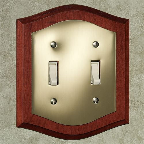 Brass and Wood Double Switch