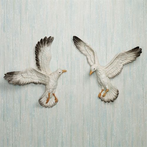 In Flight Seagull Accents Set White Set of Two