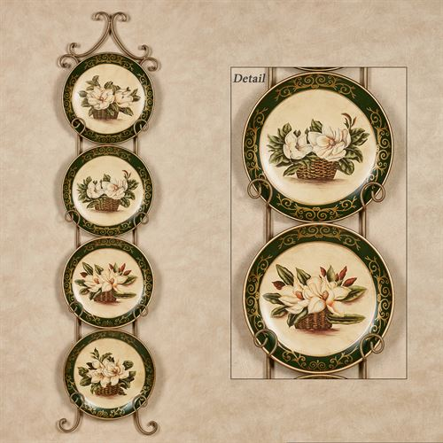 Magnolia Decorative Plates Ivory Set of Four