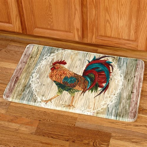 Rooster Strut Rectangle Mat Multi Jewel 22 x 35