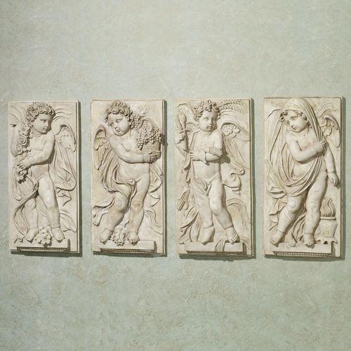 Four Seasons Cherub Plaque Set Antique White Set of Four