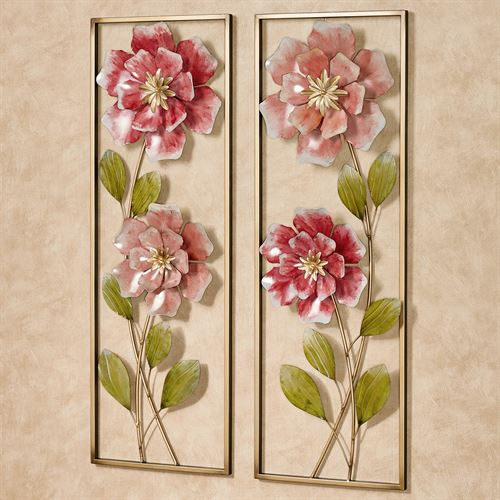 Rose Blossoms Wall Art Pink Set of Two