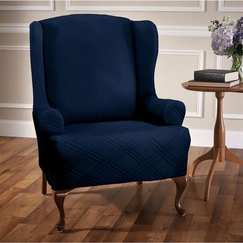 Double Diamond Stretch Slipcover Wing Chair