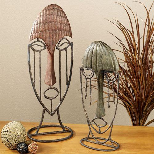 Razi Masks Table Sculpture Set  Set of Two