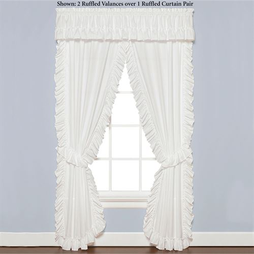 Sarah Priscilla Ruffled Curtain Pair White