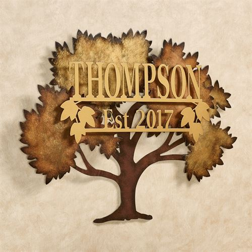 Family Tree Multi Metallic Personalized Metal Wall Art By