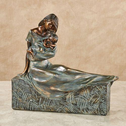 Sweet Embrace Table Sculpture Verdi Bronze