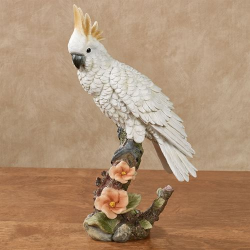 Perching Paradise Cockatoo Bird Table Sculpture White
