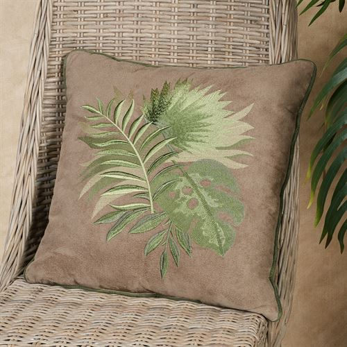 Camden Tropical Leaf Decorative Pillow Sand 18 Square