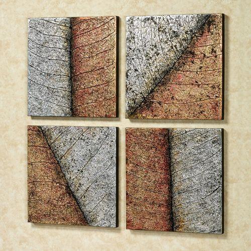 Lavish Leaves Canvas Art Multi Metallic Set of Four