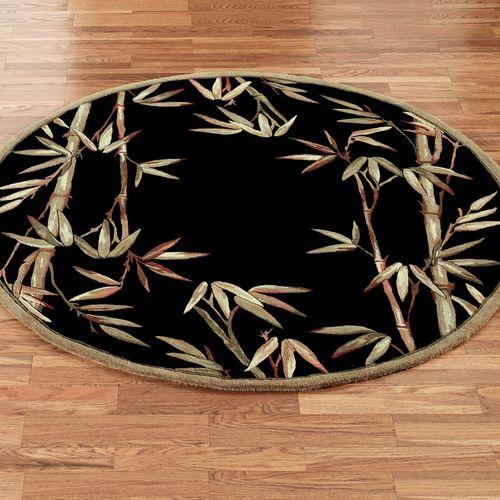 Bamboo Round Rug Black