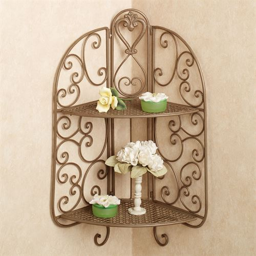 Aldabella Corner Wall Shelf Satin Gold