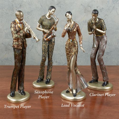 Trumpet Player Sculpture Multi Metallic