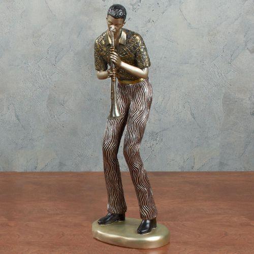 Clarinet Player Sculpture Multi Metallic