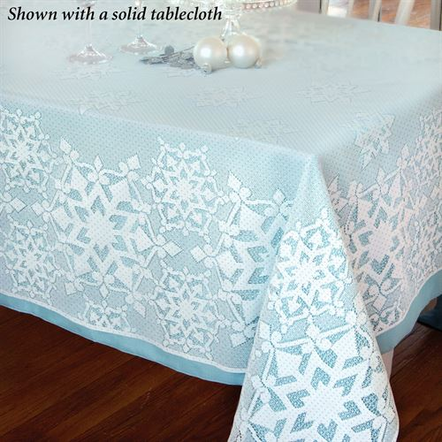 Snowflake Glitter Oblong Tablecloth White 70 x 90