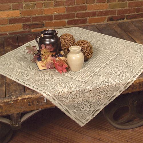 Leaf Harvest Square Table Topper Straw 36