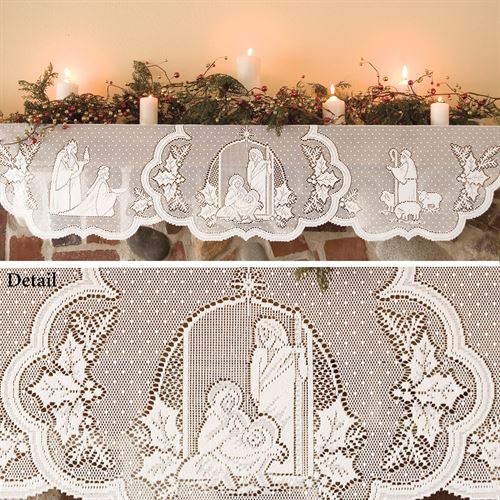 Holy Family Mantel Scarf White 20 x 90