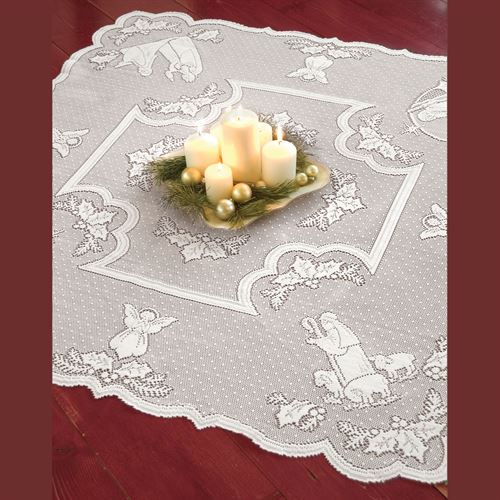 Holy Family Table Topper White 45 Square