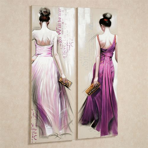 Brunette Beauties Canvas Wall Art Set Purple Set of Two