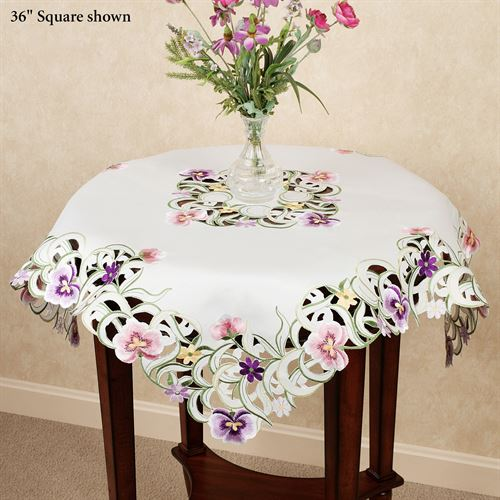Pansy Patch Square Table Topper Ivory