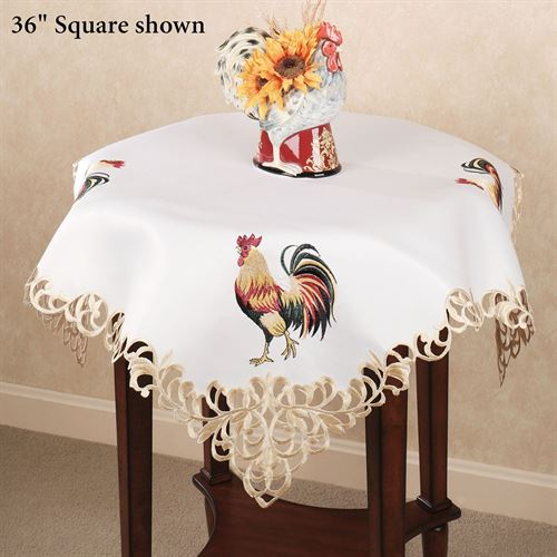 Marvelous Classic Rooster Table Topper White