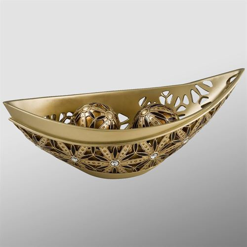 Katara Centerpiece Bowl and Orbs Champagne Gold Set of Three