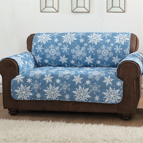 Snowflake Furniture Protector Cover Medium Blue Loveseat