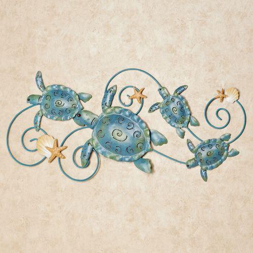 Ocean Friends Turtle Metal Wall Art Blue/Green