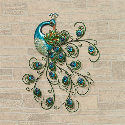 Pretty Peacock Metal Wall Art Blue