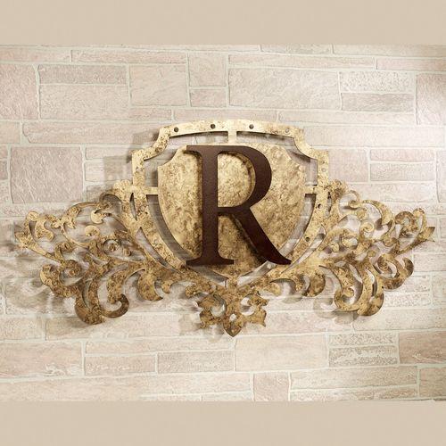 Generations Monogram Crest Metal Wall Art Sign Antique Gold