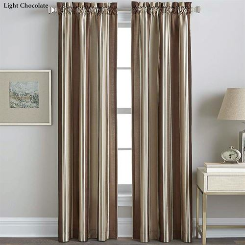 Faux Silk Striped Curtain Panel