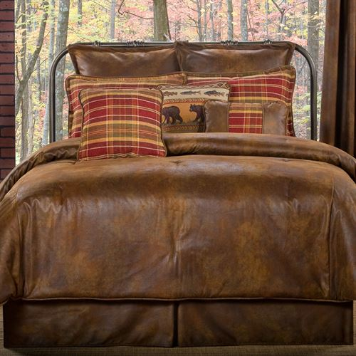 Bedroom Sets Clearance Free Shipping: Gatlinburg Rustic Faux Leather Comforter Bedding