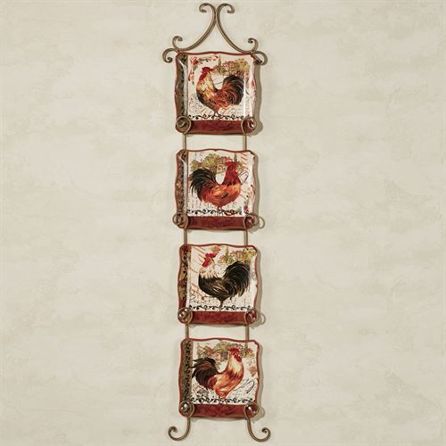 Tuscan Rooster Dessert Plate Set Cream Set of Four