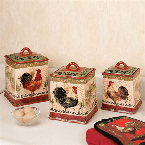 Tuscan Rooster Canister Set Multi Warm Set Of Three