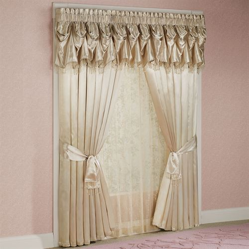 Portia Wide Curtain Pair with Sash Ties