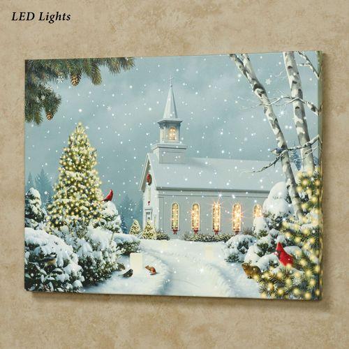 Christmas Church LED Lighted Canvas Wall Art