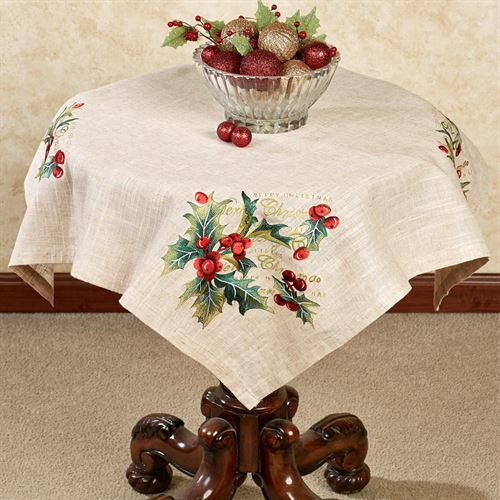 Embroidered Holly Table Topper Linen 36 Square