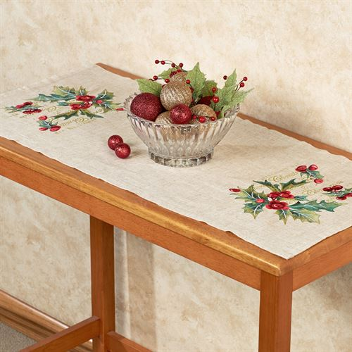 Embroidered Holly Accent Table Runner Linen 16 x 36