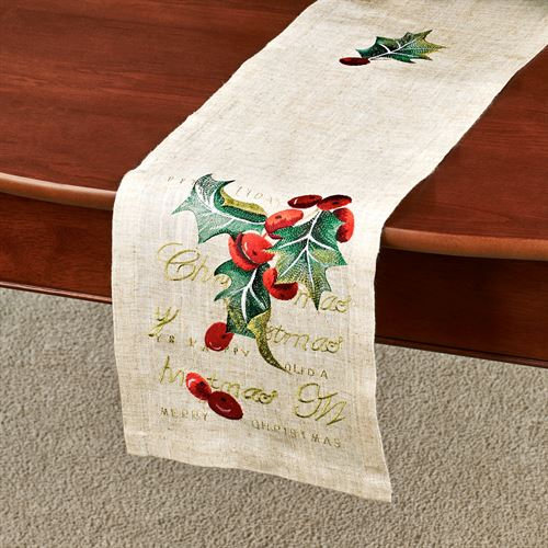 Embroidered Holly Long Table Runner Linen 9 x 60