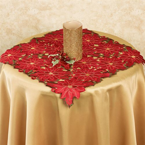 Christmas Poinsettia Small Table Topper Red 20 Square