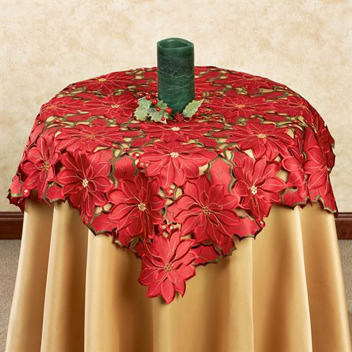 Christmas Poinsettia Medium Table Topper Red 36 Square