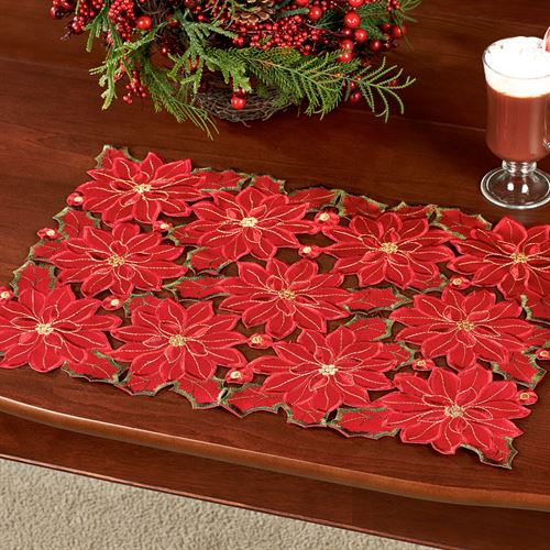 Christmas Poinsettia Placemats Red Set of Four