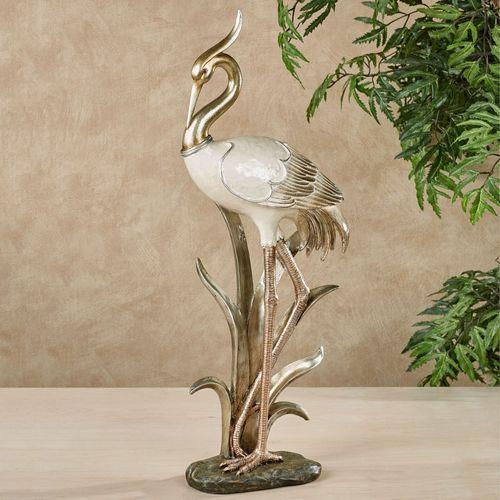 Pretty Pose Crane Table Statue Multi Metallic