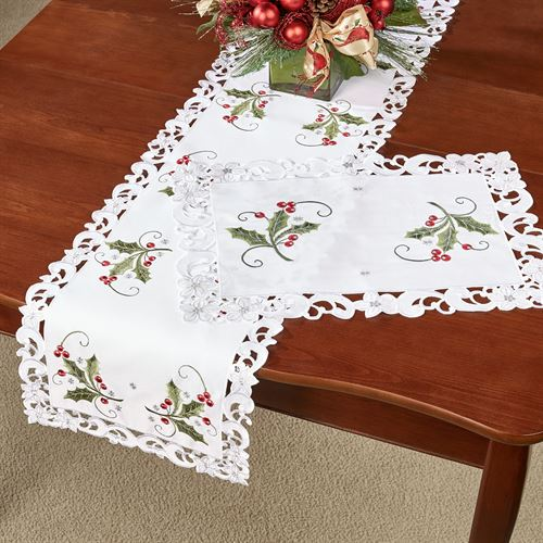 Holly and Lace Long Table Runner Green 13 x 65
