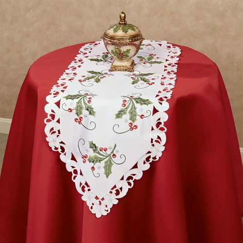 Holly and Lace Cutwork Table Runner Green 16 x 45