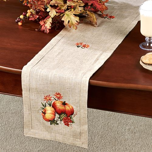 Embroidered Harvest Table Runner Linen