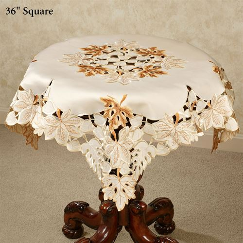 Bronze Leaves Table Topper Cream