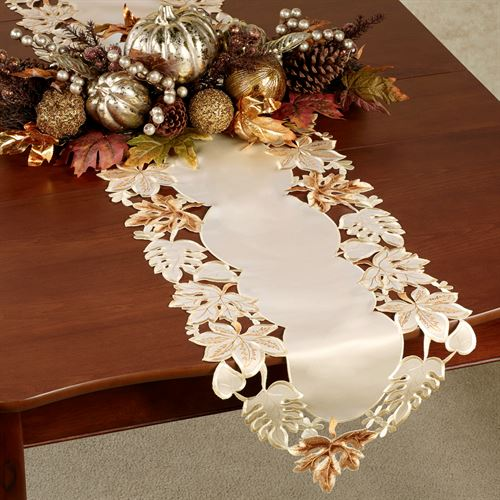 Bronze Leaves Table Runner Cream