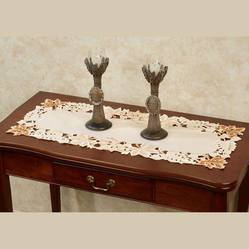 Bronze Leaves Table Runner Cream 15 x 36